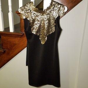 Windsor Size S black mini dress with gold foil